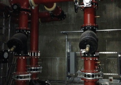 Plant room pipework at Resorts World NEC